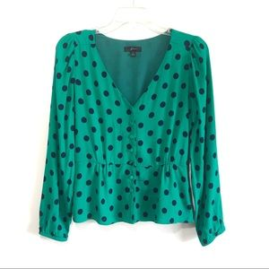 J crew peplum top green polka dot top 2019